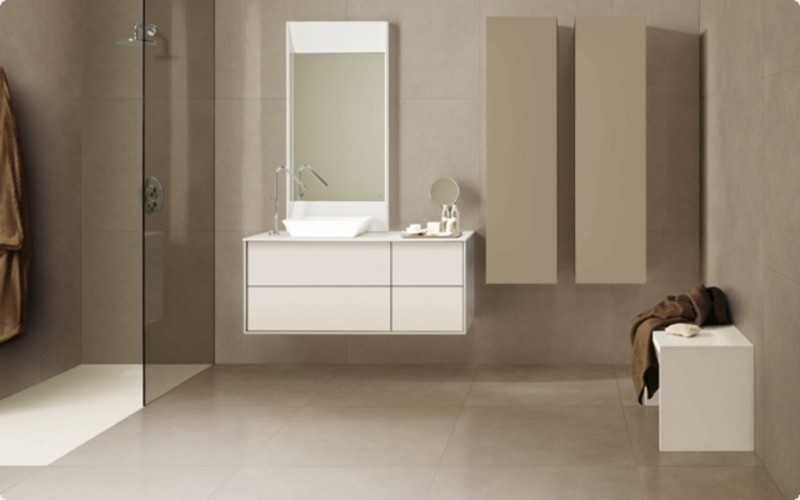 Carrelage grand format salle de bain mobilier for Grand carrelage